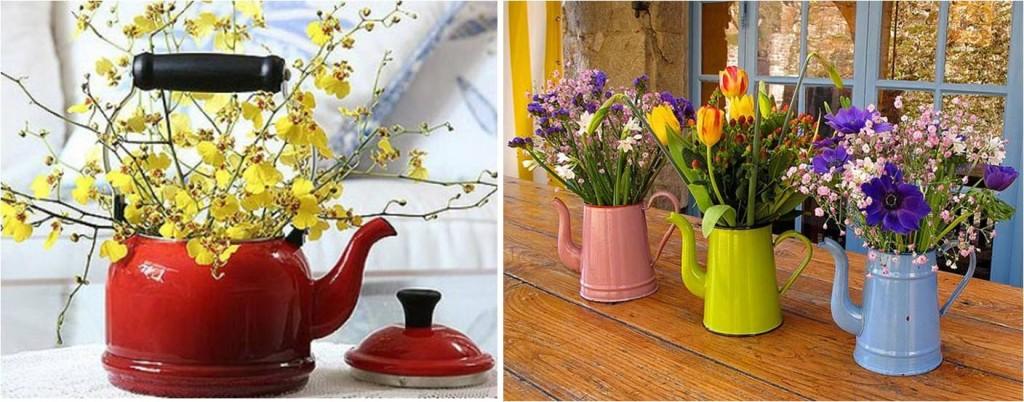 objetos transformados em vasos de flores